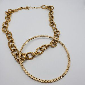 Rolled Gold Tone Necklace and Bracelet Set Cuff